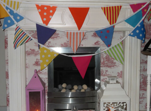 Handmade Fabric bunting 40ft Spot Stripe Mix or Plain Weddings Parties