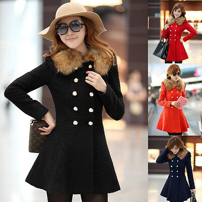Women Winter Warm Wool Fur Collar Long Coat Jacket Trench Parka Overcoat Outwear