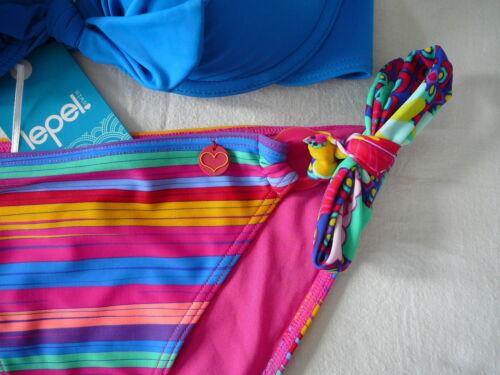 34 C push up Bikini Top /& 12 Cravate Côtés Bas Rayures Bleues Lepel Swimwear BNWTs