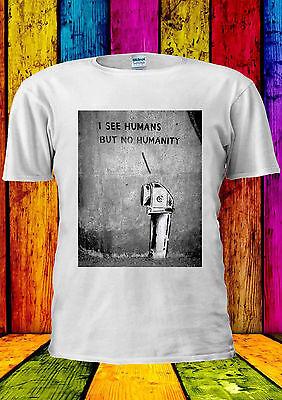 Contemplativo Banksy Vedo Gli Esseri Umani, Ma Non Dell' Umanità T-shirt Canotta Tank Top Uomini Donne Unisex 1601-mostra Il Titolo Originale
