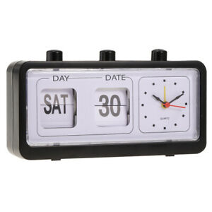 Retro-Style-Calendar-Flip-Alarm-Clock-Day-amp-Date-Display-Black