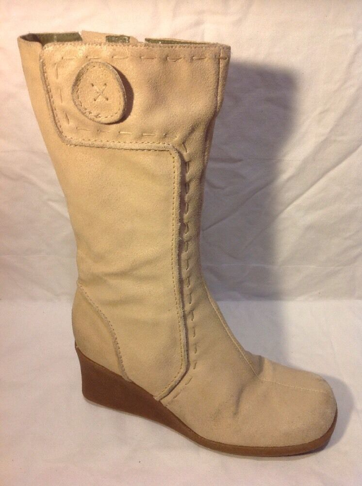 River Island Beige Mid Calf Leather Boots Size 6