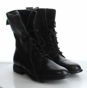40-42-MSRP-149-95-Women-039-s-Size-10M-Born-Neon-Black-Leather-Lace-Up-Combat-Boots
