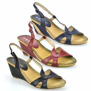 Mesdames-femmes-mid-talon-compense-peep-toe-heel-Chaussures-d-039-ete-Sandales-mules-taille
