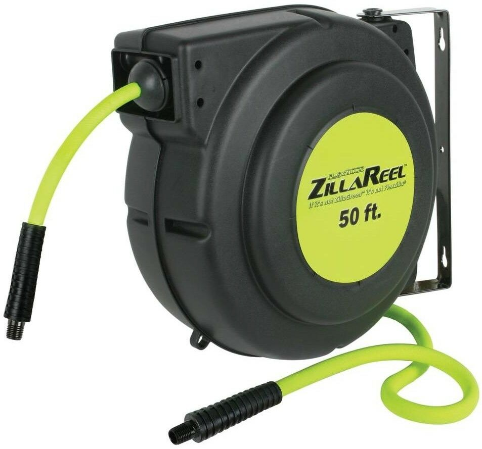 Flexzilla Retractable Enclosed Plastic Air Hose Reel Heavy Duty Shop 3 8  x 50'