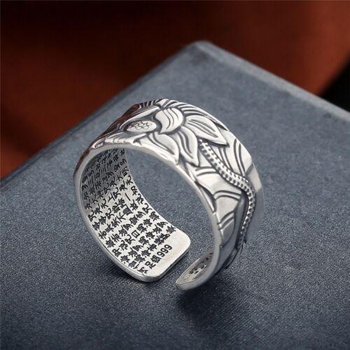 Buddha Good Luck Ring Lotus Flower 999 Silver Adjustable Size Popular Premium