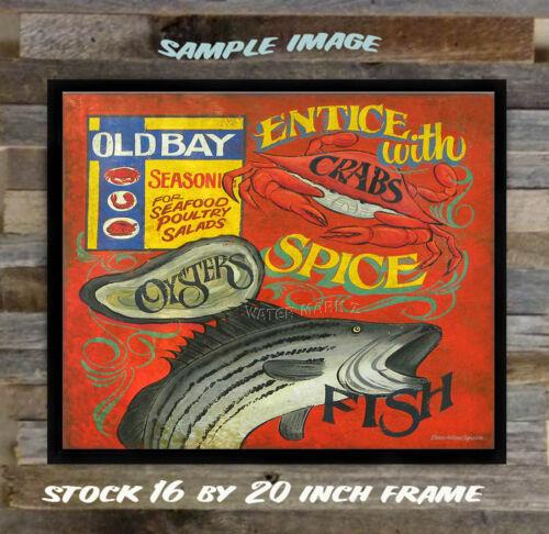 Old Bay seafood Print art decor  vintage look  chesapeake bay spice crab fish md