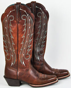 Ariat-Womens-Legend-10007955-Toffee-Brown-Tall-Boots-Blue-Teal-Stitching-6-5B