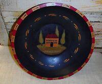 Primitive Decorative Bowl With Salt House Design - 11 1/2 Diameter