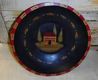 Primitive Decorative Bowl With Salt House Design - 11 1/2 Diameter
