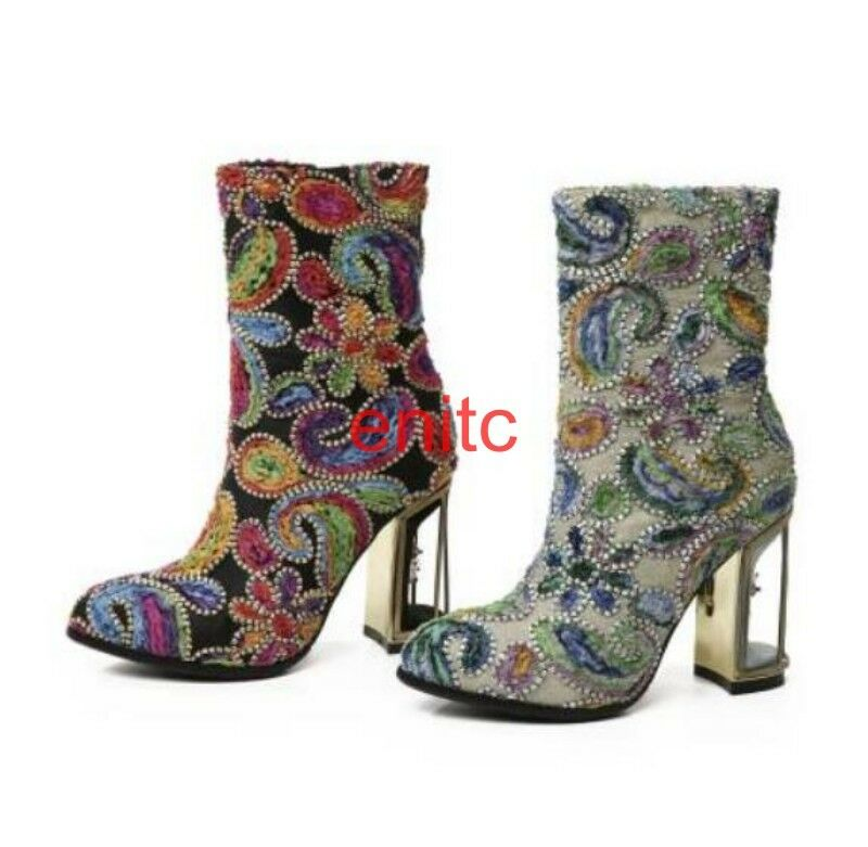 Elegent Floral Block Heels Rhinestone Jacquared Womens Mid-calf Boots Rinding