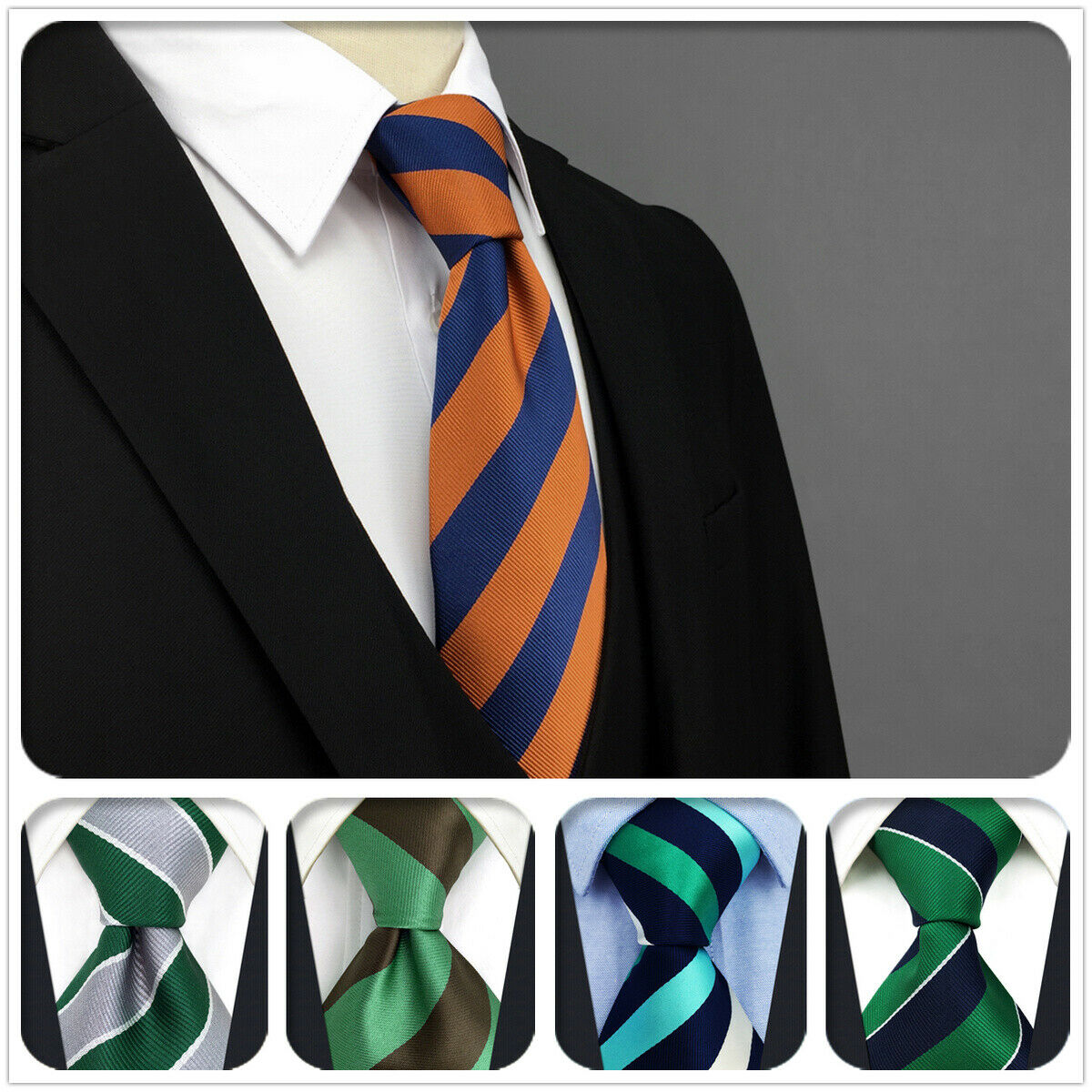 S&W SHLAX&WING Silk Ties for Men Striped Necktie Extra Long New Jacquard Woven
