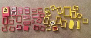 LEGO-Bundle-LEGO-Rosso-Giallo-Porta-Porta-Rosso-Giallo-Parete-Muro-Di-Windows-40-oggetti