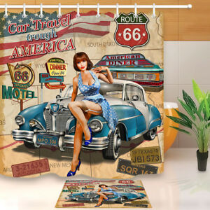 Image is loading Waterproof-Fabric-Route-66-Car-Beauty-Girl-Bathroom- & Waterproof Fabric Route 66 Car Beauty Girl Bathroom Decor Shower ...