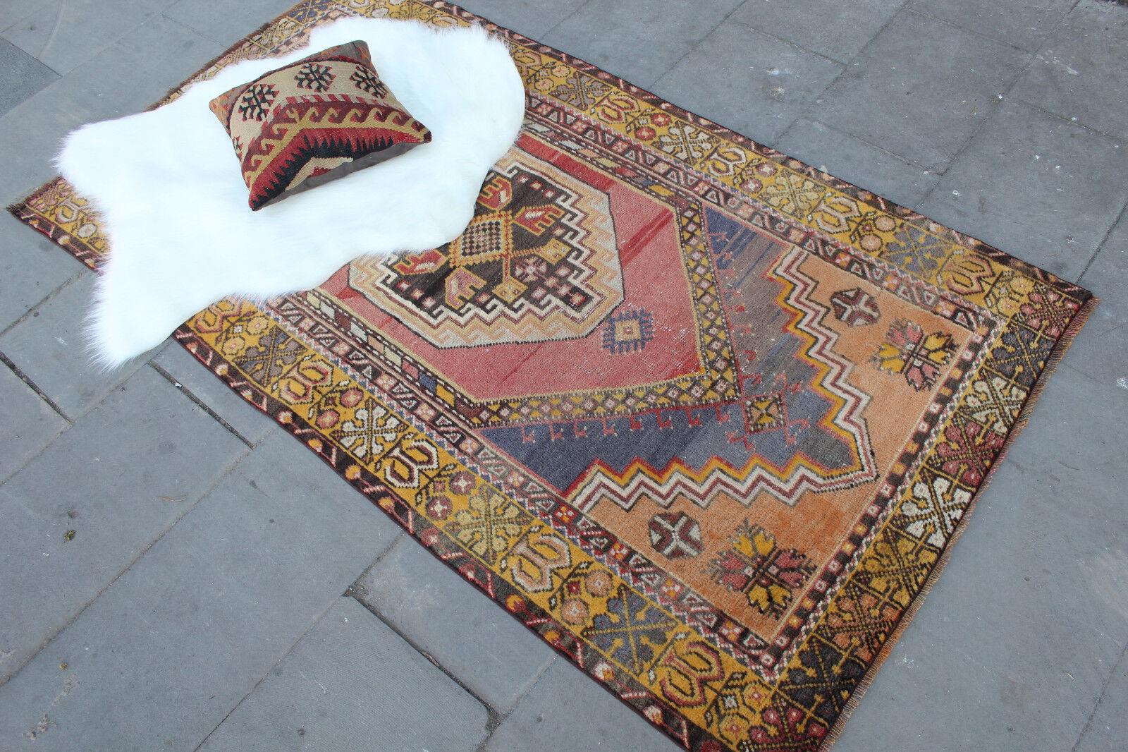 Vintage Handmade Turkish Oushak Wool Anatolia rosso Area Rug 185x100cm,74 x40