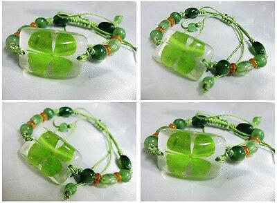 4pcs lucky charm shamrock summer four leaf clover magic lovely design bracelet