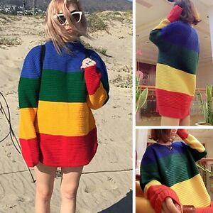 Womens-Vintage-Jumper-Crew-Neck-Long-Sleeve-Pullover-Stripe-Knit-Sweater-Rainbow