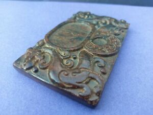 Collectable-Hand-Carved-Jade-Hardstone-Double-Dragon-Inkstone