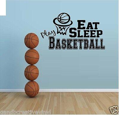Eat Sleep Play Basketball Vinyl Wall Decal Kids room sports wall decor