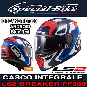 MOTO DOPPIA VISIERA STRADA CASCO INTEGRALE LS2 BREAKER FF390 BLU ROSSO