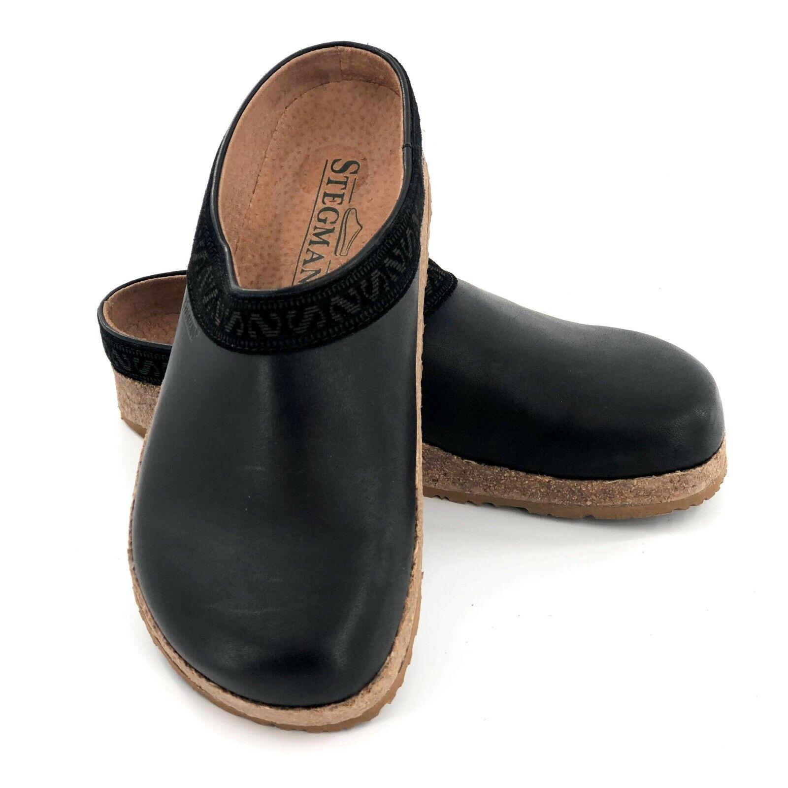 Stegmann Black Leather Clogs Womens Comfort Slip On Shoes Size 6 US