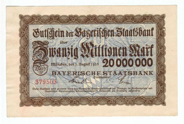 """B308 Germany 5 Million Mark 1923 Bavaria Munich /""""Bayerische Notenbank/"""""""