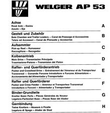Welger AP53 Baler Parts Manual (PDF file) SPARE PARTS LIST CATALOGUE