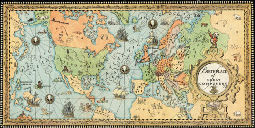 c1935 Pictorial Map of Birthplace of Great Composers Classical Music Lovers Gift