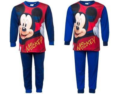 Childrens Kids Boys Disney Mickey Mouse Blue Pyjamas PJs Nightwear Age 3-8 Years