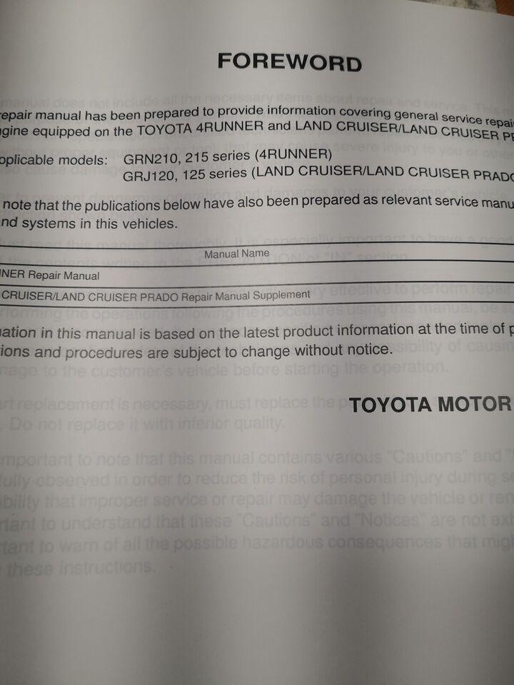 (5)Motorbog, Toyota landcruiser. 4runner