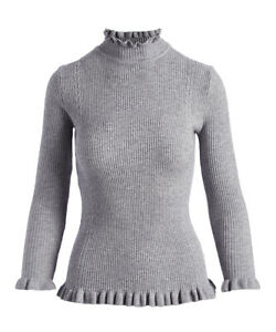 Jon-amp-anna-Gray-Ribbed-Ruffle-Sweater-SIZE-L-NEW