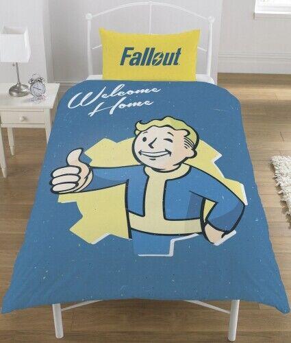 Fallout Vault Boy Bleu Réversible Simple Housse Couette Ensemble De Literie Joueurs Cadeau