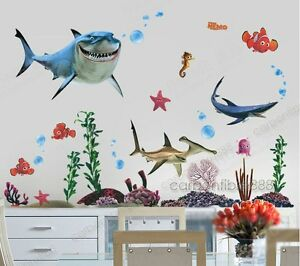 Image Is Loading Finding Nemo Sharks Wall Stickers Kids Boys Bedroom  Part 98