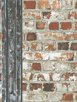 REALISTIC LOFT BEAM RED BRICK WALL MURIVA FEATURE DESIGNER WALLPAPER 102540