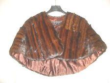 Vintage Ladies' FUR CAPE Wrap Stole  - Mink or Muskrat - Dark Brown/Mahogany