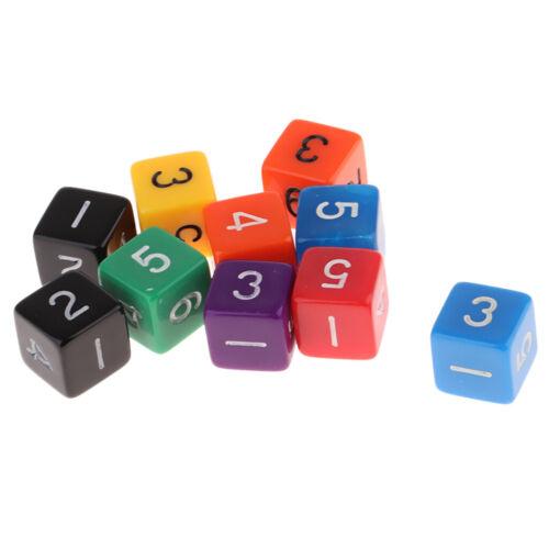 10 stücke Acryl Würfel Set 6-seitige Würfel 1-6 für Tabelle Spiel Kinder
