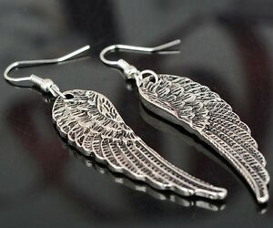 Details About 1 Pair Of Angel Wings Drop Earrings For Women Tibet Silver Earring