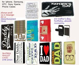 Padre-Papa-Cartera-de-cuero-Funda-para-telefono-para-Iphone-Samsung-HTC