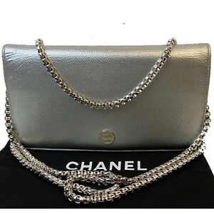 AUTHENTIC-CHANEL-Caviar-Silver-Leather-CC-Long-Wallet-US-SELLER