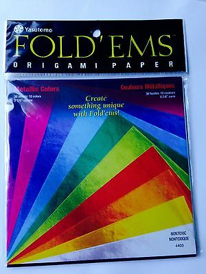 Yasutomo Fold EMS Non-Toxic Square Origami Paper Pack of 36 Assorted Metallic Color 5-7//8 X 5-7//8 in
