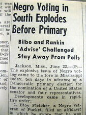"""1946 newspaper NEGRO VOTERS are """"ADVISED"""" to STAY AWAY from VOTING in the SOUTH"""