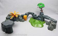 Playmobil (Klicky) ** große Felsenlandschaft mit Baum und Farn für Tierpark