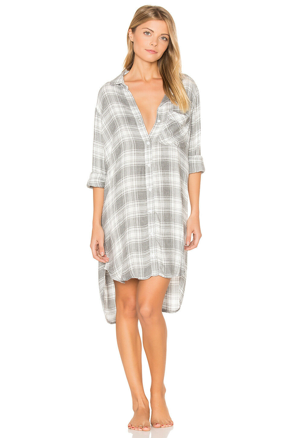 NEW CLOTH & STONE SzM FLANNEL HIPSTER LONG SLEEVE SHIRT DRESS PLAID HEATHER grau