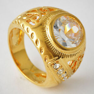 Vintage-14K-yellow-Gold-Filled-Big-Oval-Crystal-Rings-Hollow-mens-wedding-bands