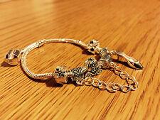 "8"" Disney Cenerentola Padora 5 PZ SILVER Charm Perline Braccialetto ragazza Miglior regalo"