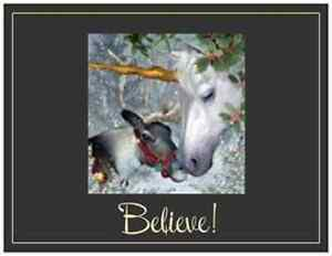 20-CHRISTMAS-Unicorn-ELK-Greeting-POSTCARDS-Post-Cards-PRINTED-US-OR-CANADA