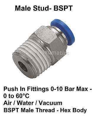 Pneumatic Push In Fittings for Air/Water Hose & Tube **ALL SIZES AVAILABLE**
