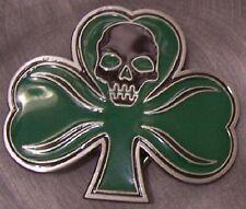 Pewter Belt Buckle novelty Skull & 3 Leaf Clover NEW