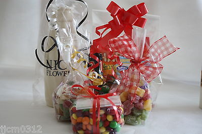 100pcs Clear Cellophane Gusseted Display Bags Gift Cello-Food Party Swee /_NEW