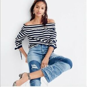 aa8c100c7151dd Image is loading J-CREW-Navy-Blue-White-Striped-Off-Shoulder-